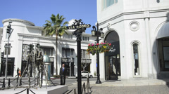 Panoramic of Rodeo Drive Stock Footage