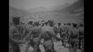 Ethiopian troops marching on the hill Stock Footage