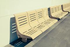 Empty seats on ferry boat - stock photo Stock Photos