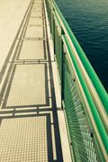 ferry boat deck - stock photo