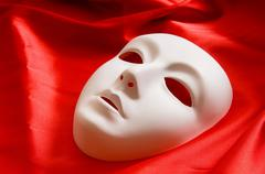 Theatre concept with the white plastic masks Stock Photos
