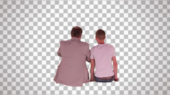 Man & young man on spectator seats (back view) Stock Footage
