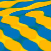 Yellow Blue Wavy Paint Surface - stock illustration