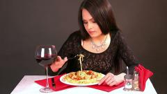 Happy woman eating spaghetti. Time lapse. Stock Footage