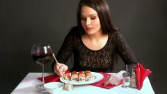 Woman eating sushi.Time lapse Stock Footage