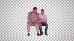 man & young man on spectator seats (front view 1) - stock footage
