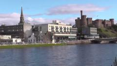 Inverness waterfront and River Ness Scotland Stock Footage