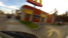 Fast Motion Driving In Los Angeles California To Fast Food Restaurant - stock footage