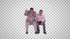 Man & young man on spectator seats (front view 2) Stock Footage