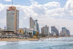 Tel Aviv riviera and hotels Stock Photos
