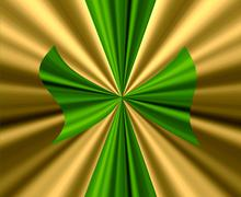 Stock Illustration of green bow on gold satin fabric