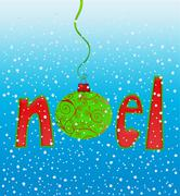 noel in snowflakes - stock illustration