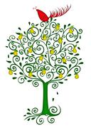 partridge in a pear tree - stock illustration