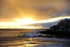 Sunset at the seashore of Valle Gran Rey, Gomera Stock Photos