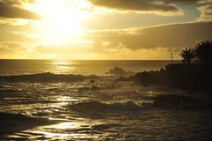 sunset on the beach of Gomera, Valle Grand Rey - stock photo