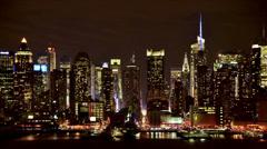 New York City Skyline at Night - stock footage