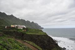 View from above to the coast of Tenerife - stock photo