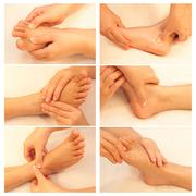 Collection of reflexology foot massage, spa foot treatment Stock Photos
