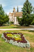 cathedral of st. elizabeth with garden - stock photo