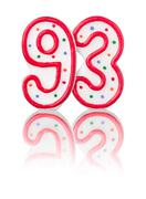 red number 93 with reflection on a white background - stock photo
