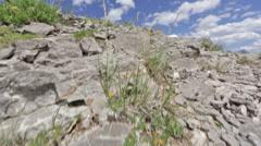 A mountain biker in slow motion biking across a rocky ridge in Idaho Stock Footage