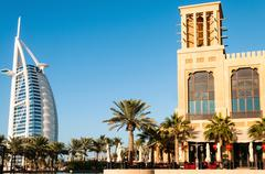 "view on hotel burj al arab ""tower of the arabs"" - stock photo"