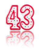 red number 43 with reflection on a white background - stock photo