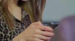 Laughing smiling woman writes sms romantic message, dating man. click for HD - stock footage