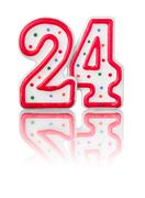 red number 24 with reflection on a white background - stock photo
