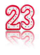 red number 23 with reflection on a white background - stock photo