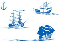 sail ships - stock illustration