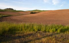 Farm industry plowed field spring planting palouse country ranch Stock Photos
