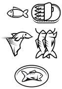 Fish food symbols Stock Illustration
