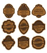Stock Illustration of set of vintage brown labels
