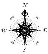 vintage compass symbol - stock illustration