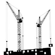 Silhouette of two cranes working on the building Stock Illustration