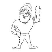 Muscular santa claus with a raised hand gesture. Stock Illustration