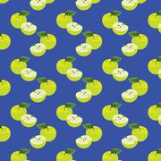 seamless pattern with apples on the green background. - stock illustration