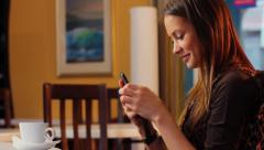 Single pretty lady typing message dating relationships phone sms. click for HD - stock footage