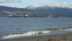 English Bay Freighters and Mountains, Vancouver Stock Footage