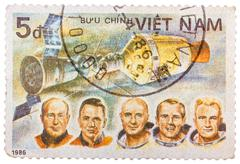 stamp printed in vietnam shows apollon soyuz test project crew slayton, staff - stock photo
