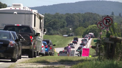 Traffic highway backup telephoto Stock Footage