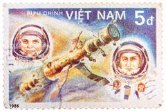 Stamp printed in vietnam shows vietnam cosmonaut pham tuan and soviet cosmona Stock Photos
