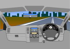 The car without a driver on the road. Stock Illustration