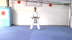 Black belt in position to defend and attack - stock footage