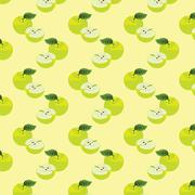 Seamless pattern with apples on the green background. Stock Illustration