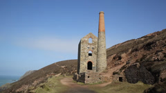 Cornish tin mine near St Agnes Beacon Cornwall UK Stock Footage