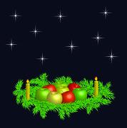 christmas wreaths  -  vector - stock illustration