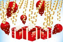 gift boxes and balloons - stock illustration - stock illustration