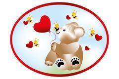 bear with bees - stock illustration - stock illustration
